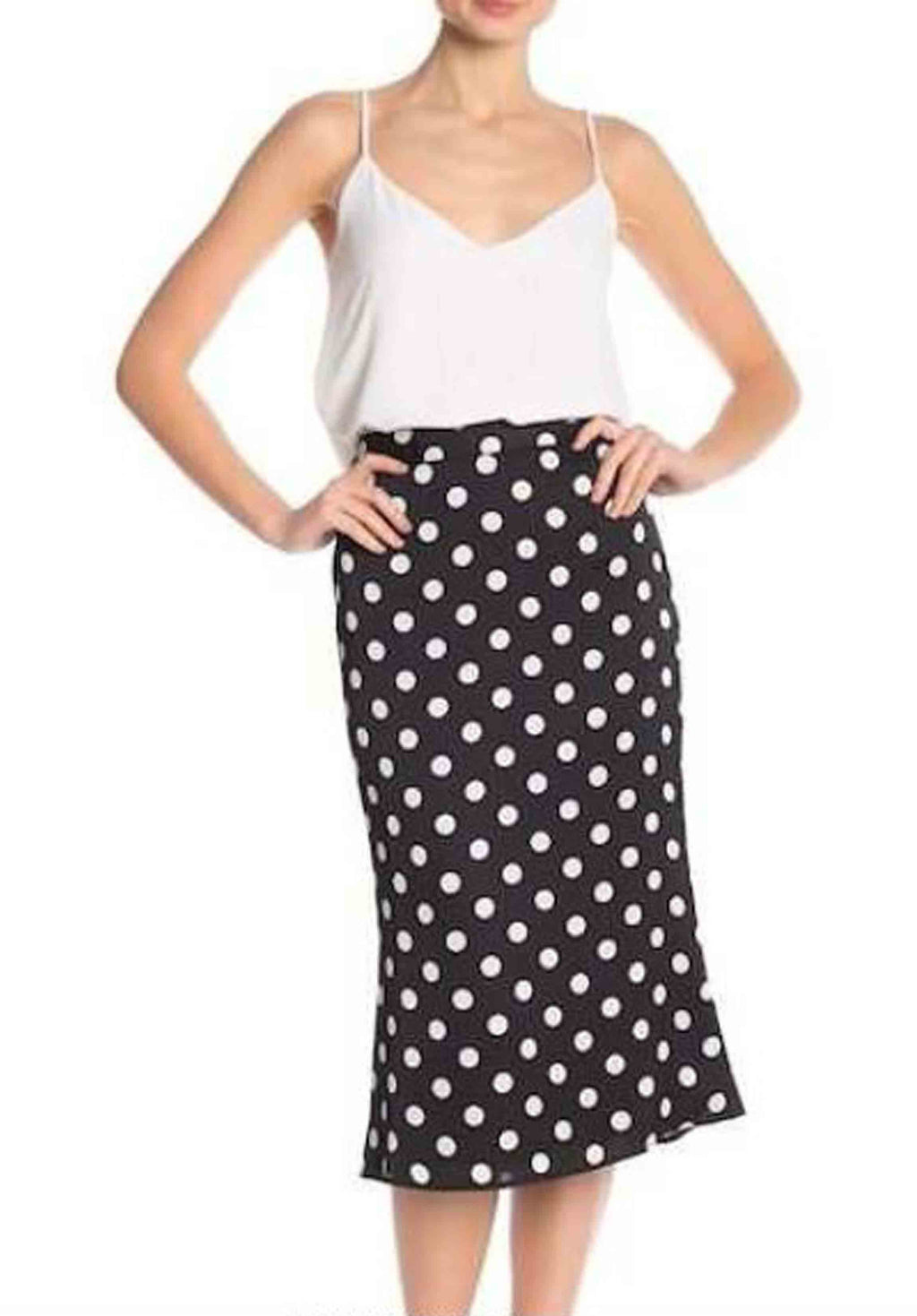 FROST MIDI SKIRT | BLACK POLKA DOT