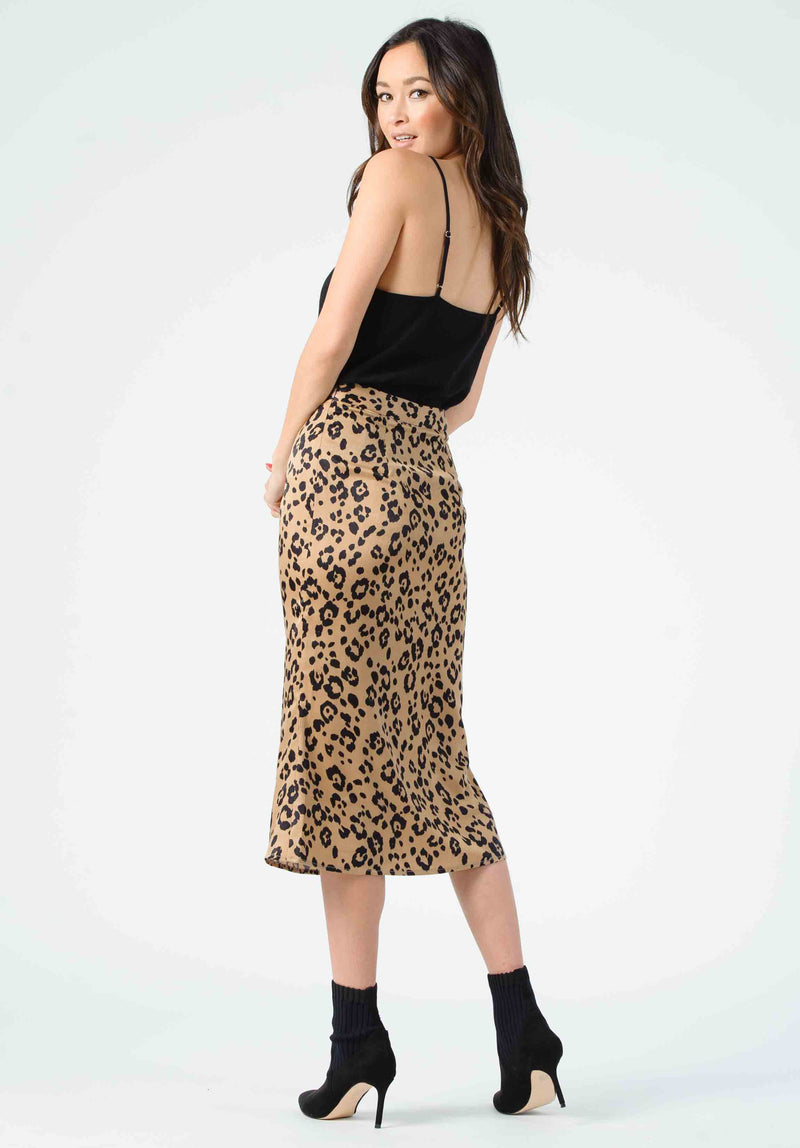 FROST BIAS CUT MIDI SKIRT | TAN JAGUAR
