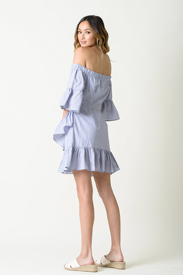 VIVIENNE OFF THE SHOULDER WRAP SKIRT DRESS | BLUE STRIPE