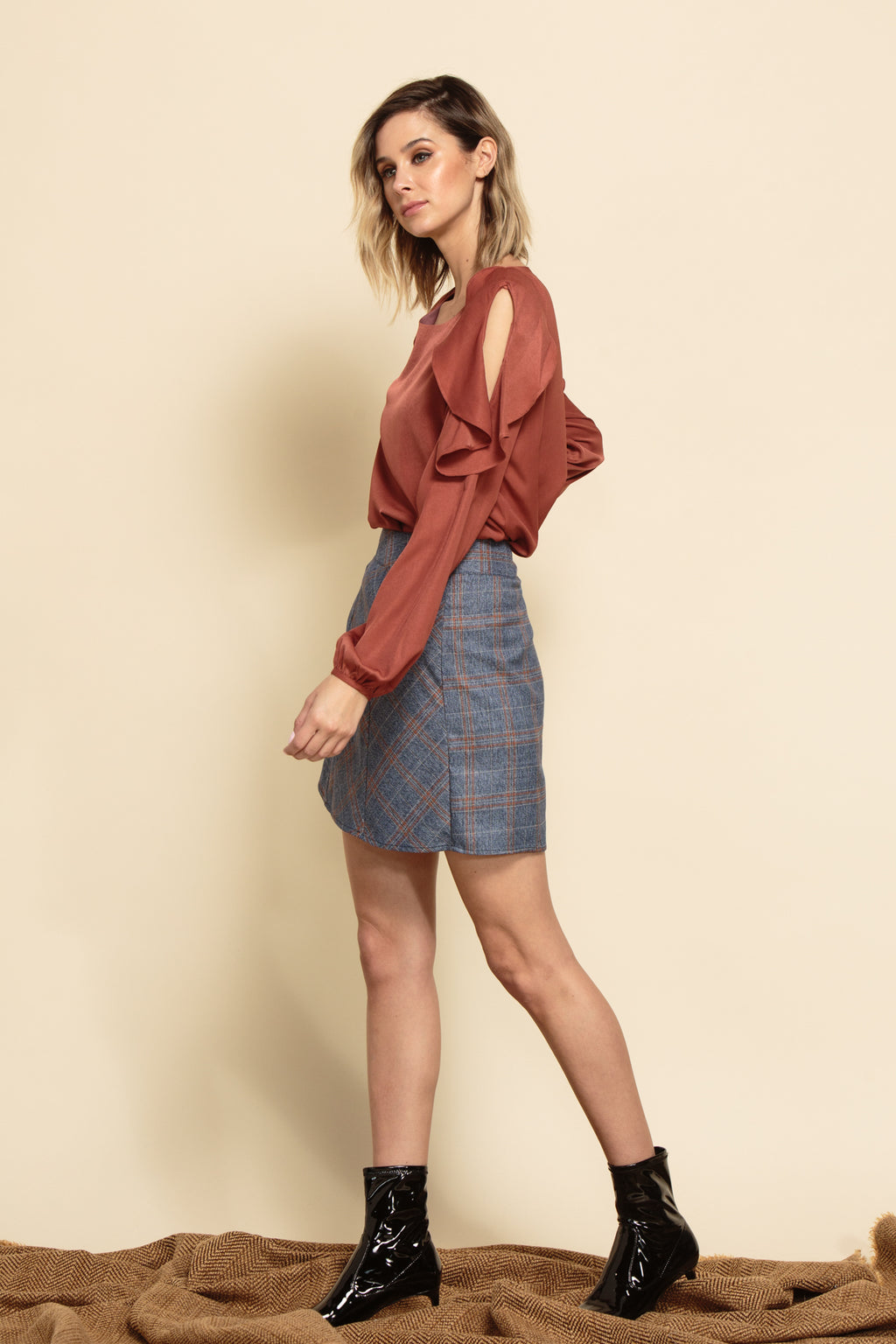 HARLEY CONTRAST A-LINE MINI SKIRT | DENIM PLAID
