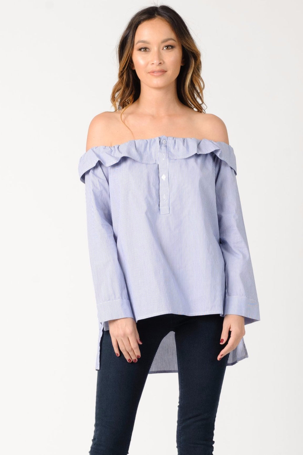 CHARLOTTE OFF SHOULDER TOP | BLUE WHITE STRIPE