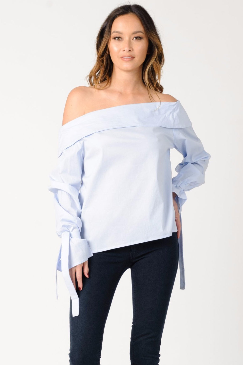 GRACE OFF SHOULDER TOP | LIGHT BLUE
