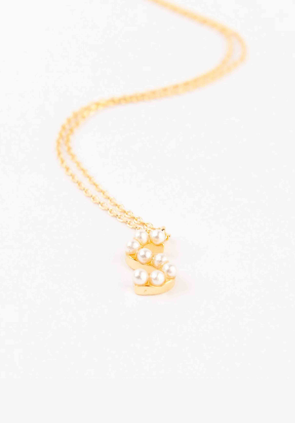 PEARL INITIAL NECKLACE | GOLD