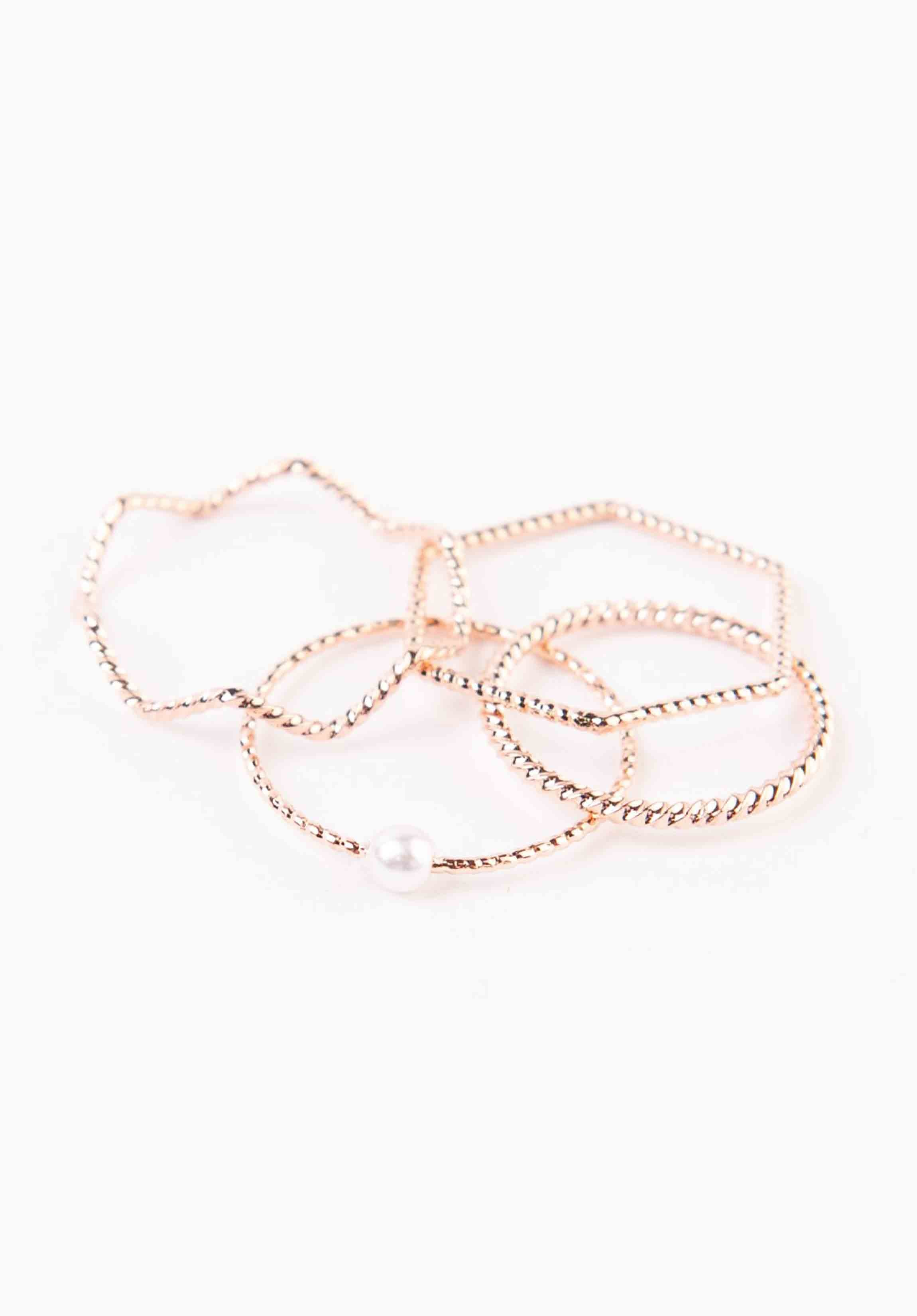 PEARL RING SET | ROSE GOLD