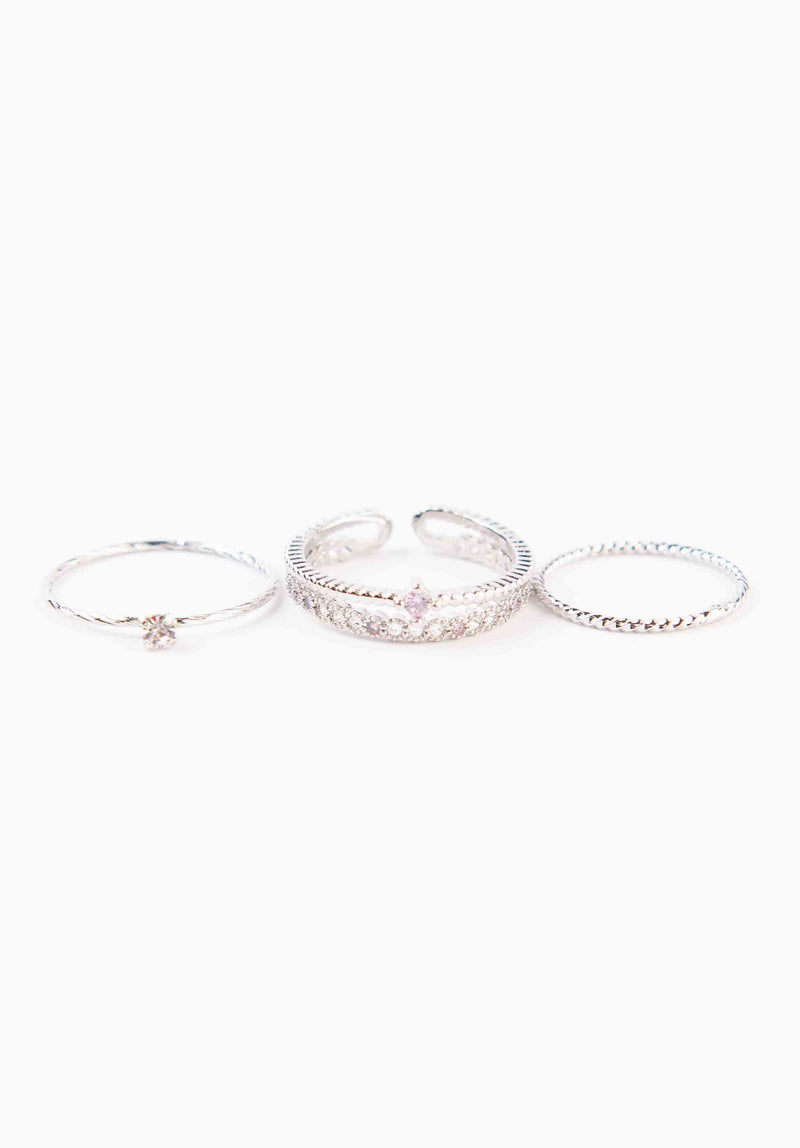 PINK RHINESTONE RING SET | WHITE GOLD