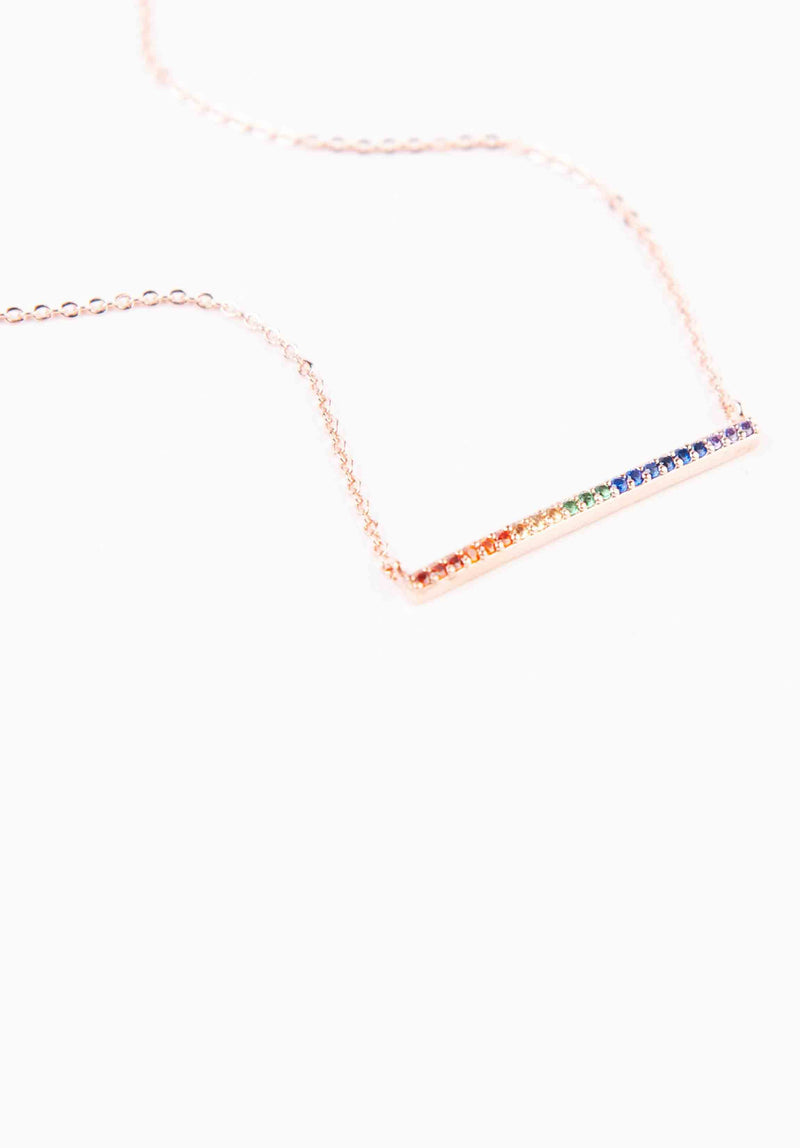 RAINBOW BAR NECKLACE | ROSE GOLD