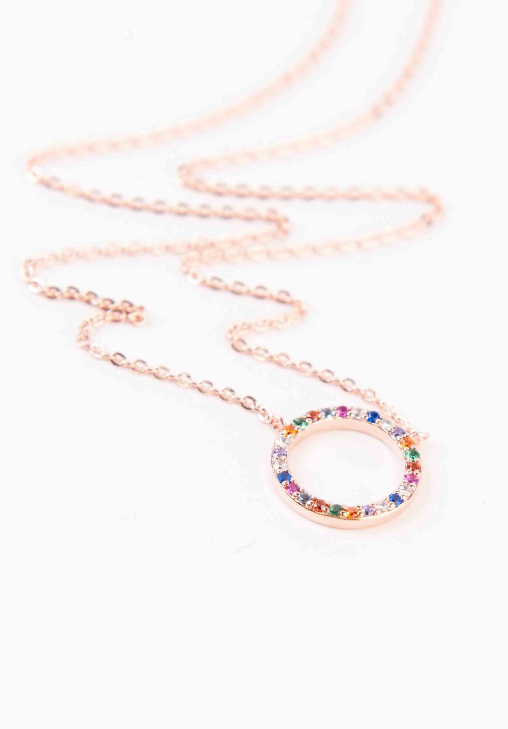 RAINBOW HALO NECKLACE | ROSE GOLD