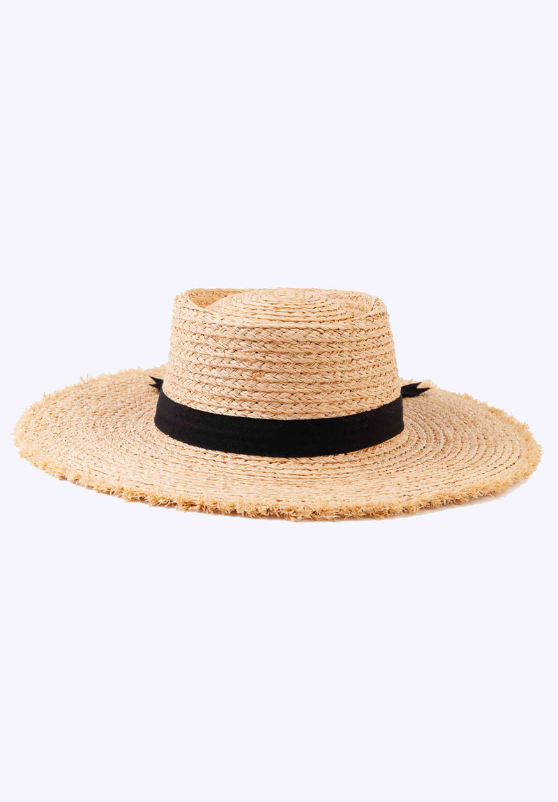 RAW EDGE STRAW BOATER HAT | BLACK