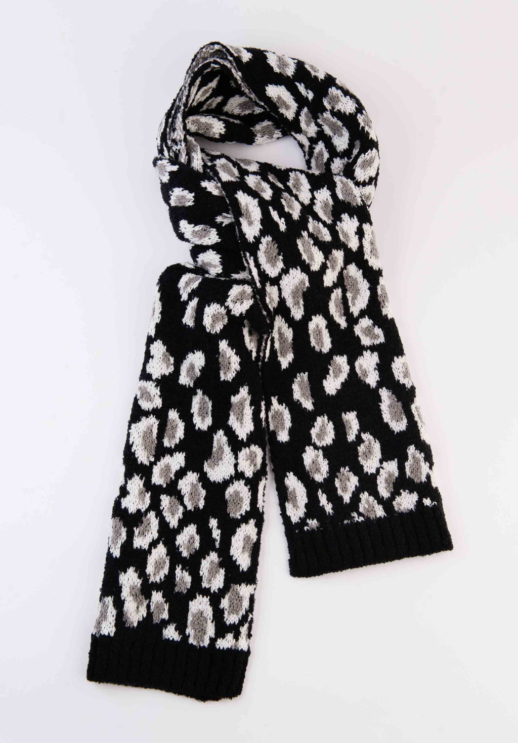 ANIMAL PRINT SCARF | BLACK LEOPARD