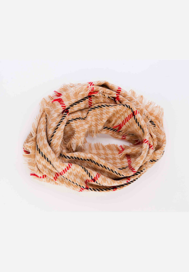 CIRCLE SCARF | CREAM HOUNDSTOOTH