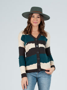 Cody Abstract Teal Color Block Cardigan