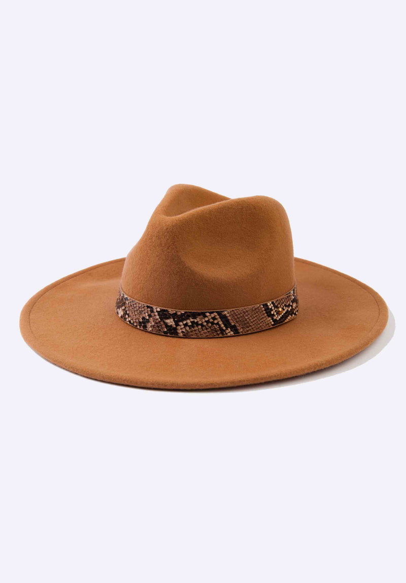 SNAKE TRIM WOOL FEDORA | TAN