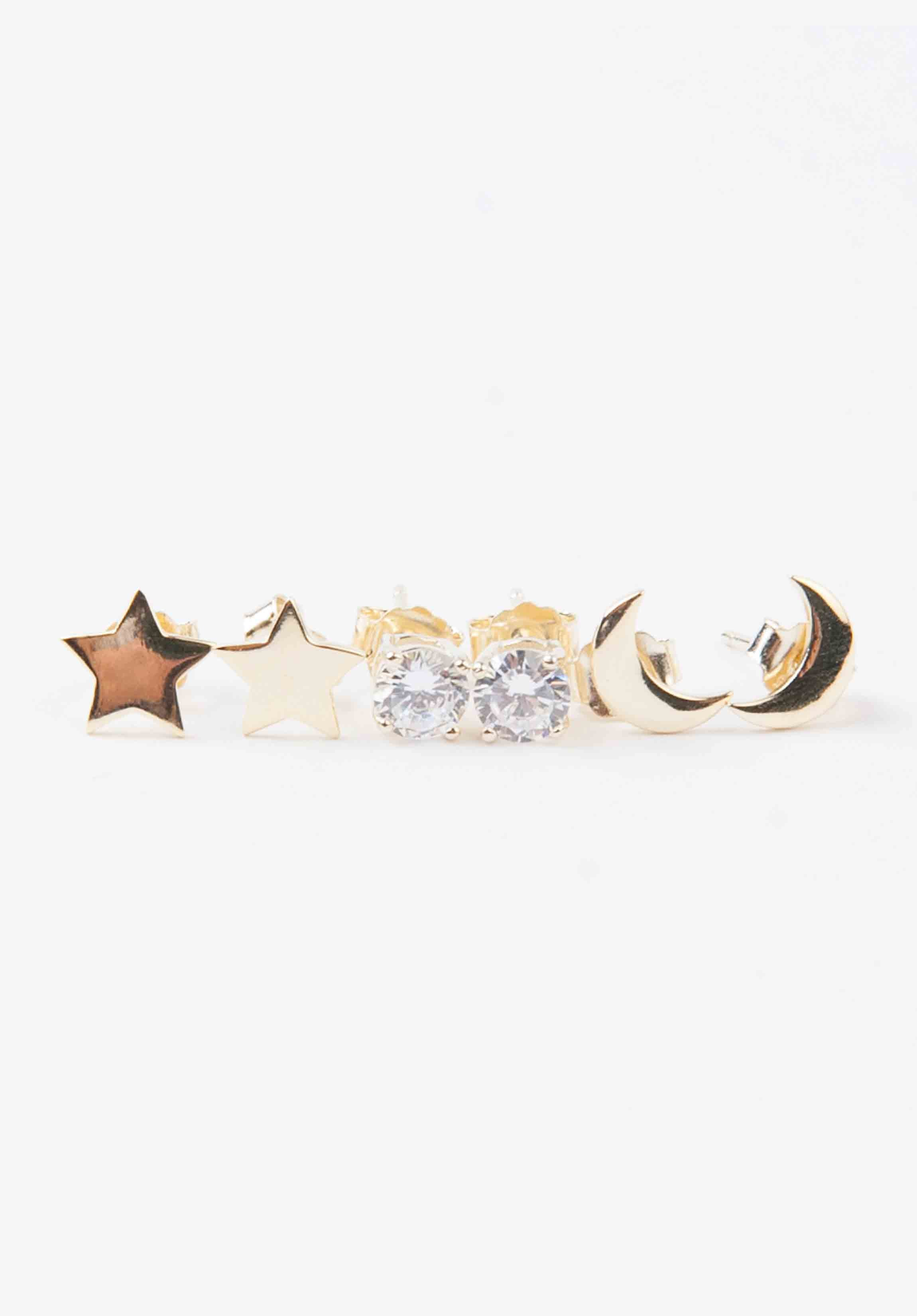 MOON & STAR EARRING SET | GOLD