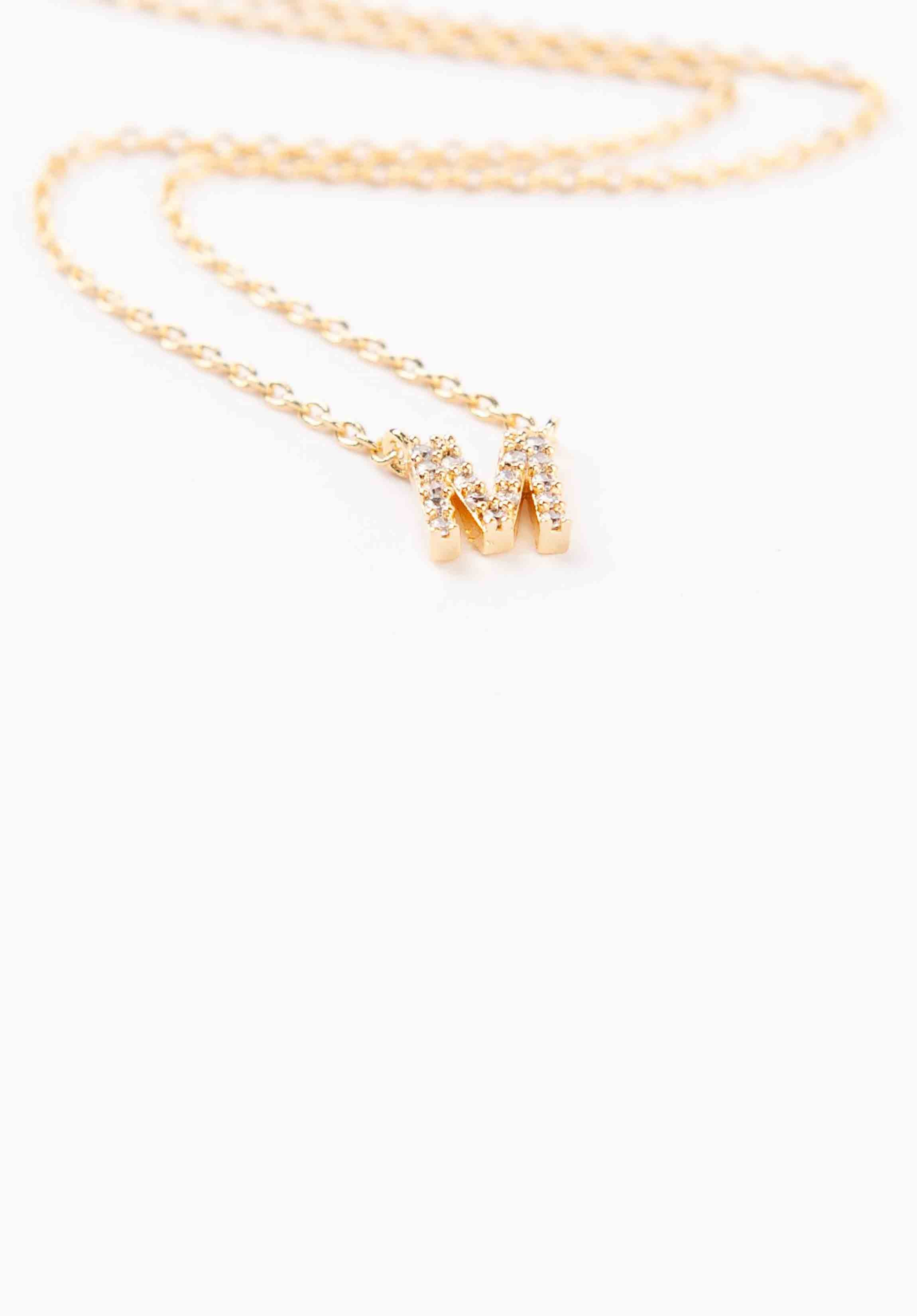 STUDDED MINI INITIAL NECKLACE | GOLD