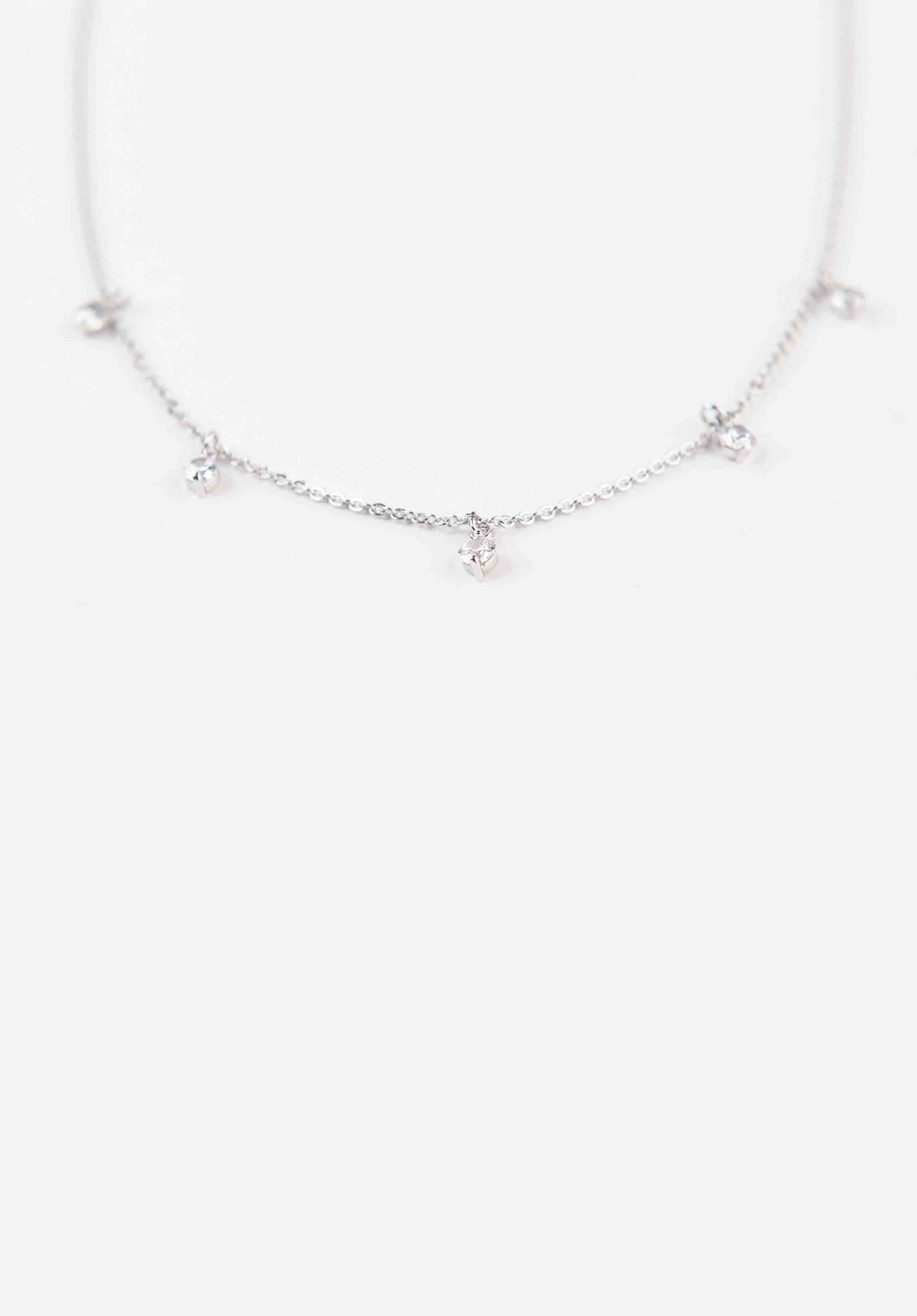 STUDDED NECKLACE | WHITE GOLD