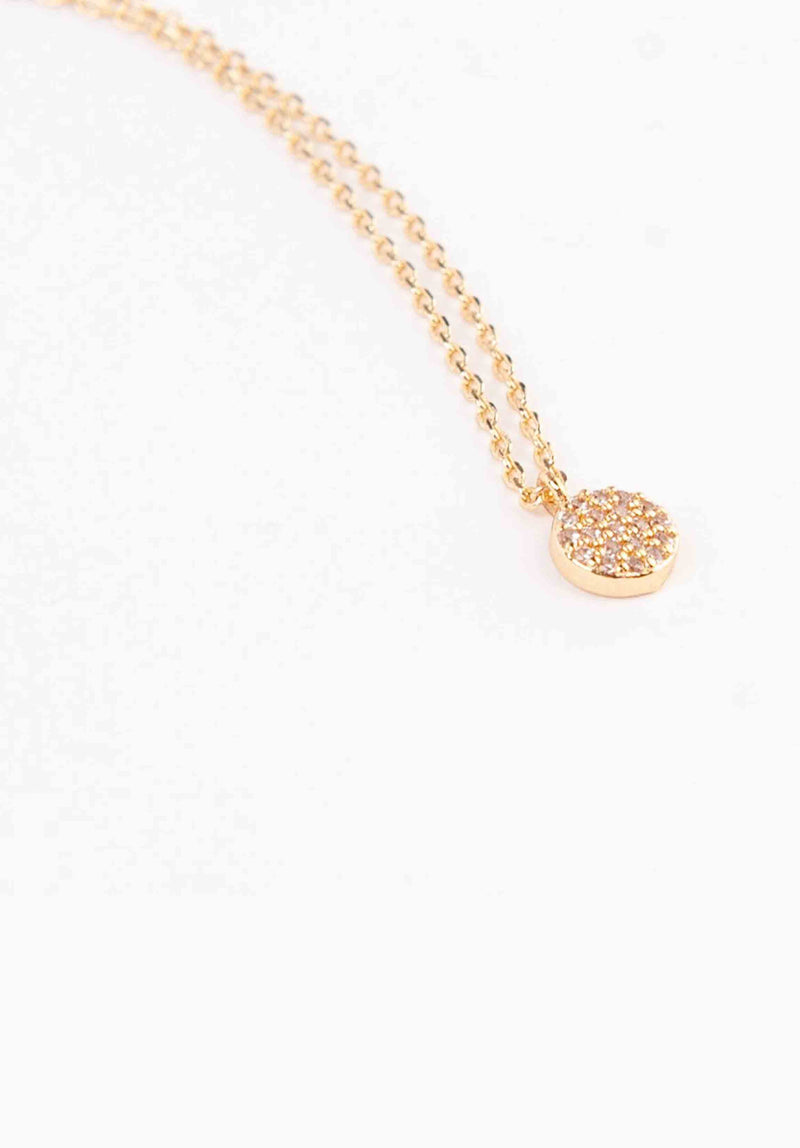 STUDDED TINY MEDALLION NECKLACE | GOLD