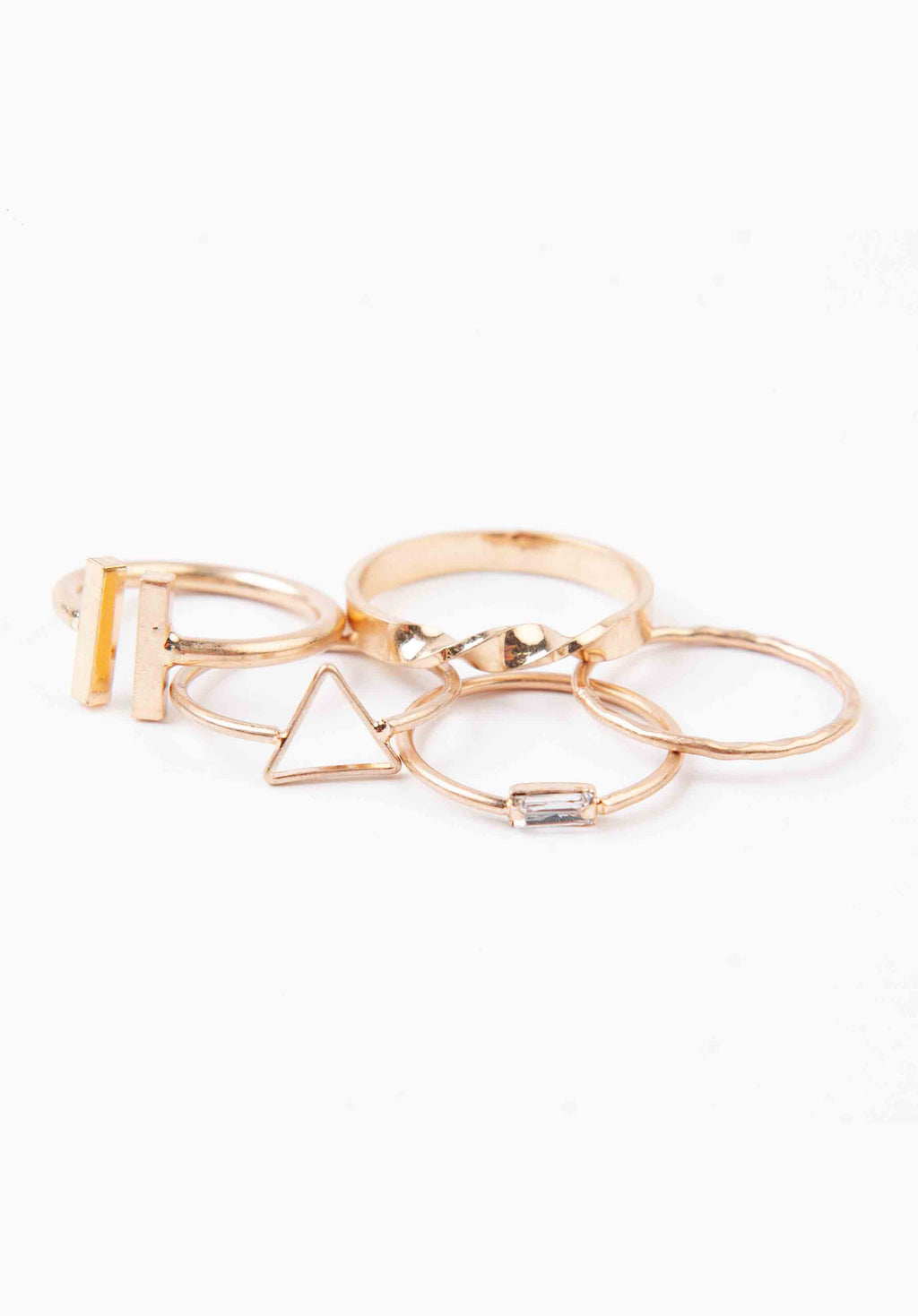 TRIANGLE RING SET | GOLD
