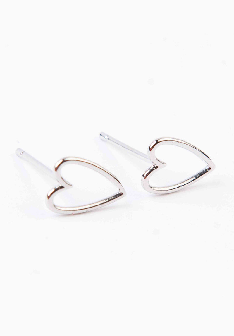 HEART OUTLINE EARRINGS | WHITE GOLD