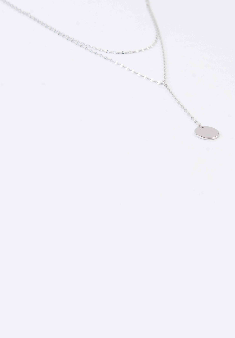 LAYERED MEDALLION NECKLACE | WHITE GOLD