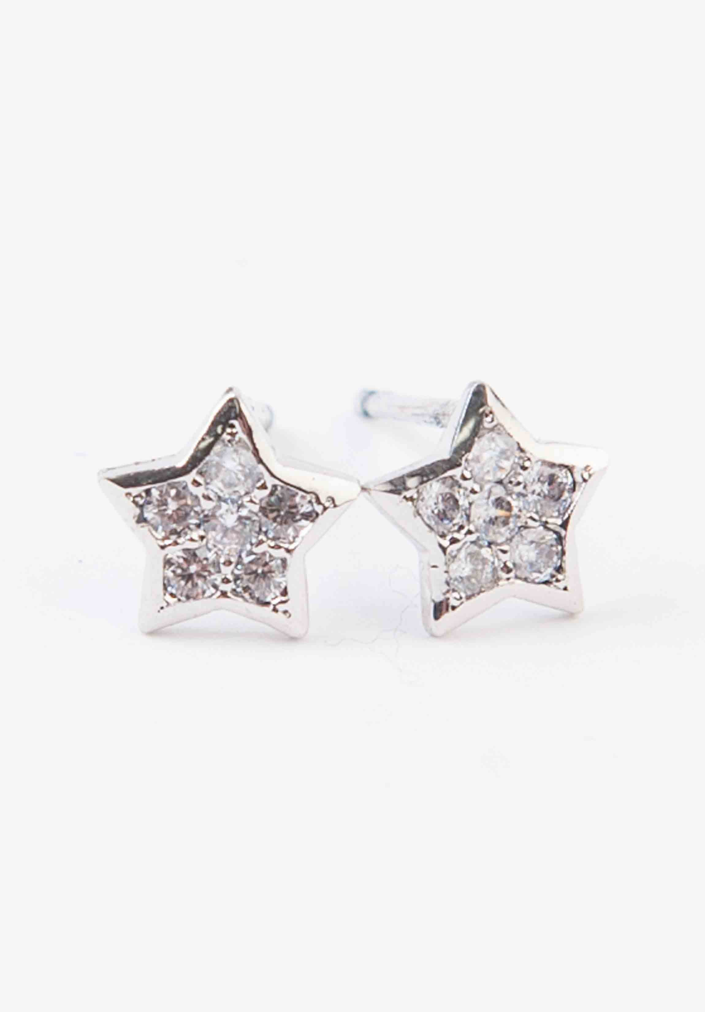 STAR STUDDED EARRINGS | WHITE GOLD