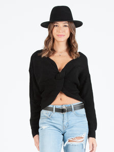 VAL FRONT KNOT BLACK SWEATER