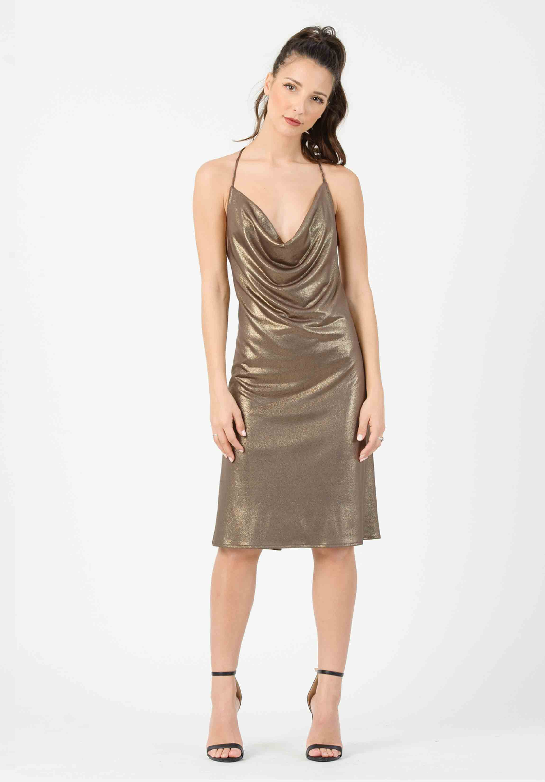 HALTER DRESS | COPPER/SILVER