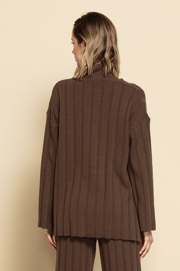 JENNIFER TURTLENECK RIB SWEATER | CHOCOLATE