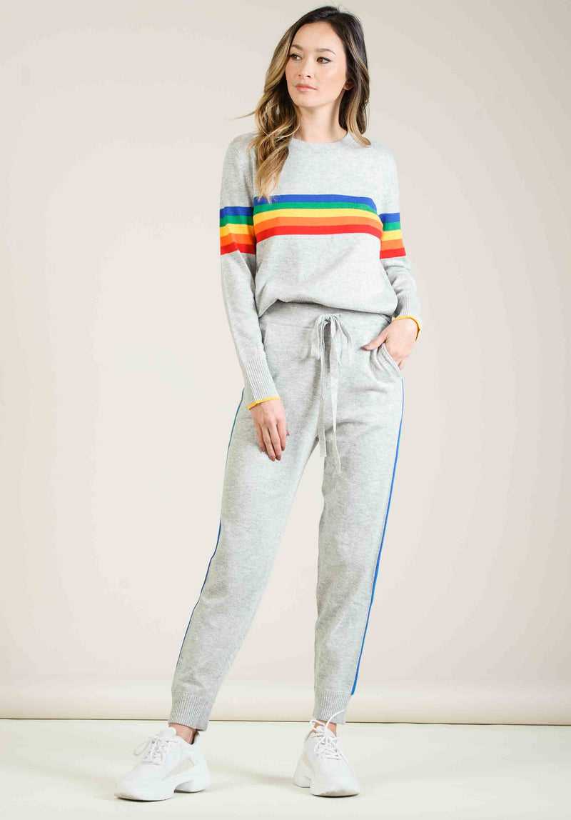 FELIZ KNIT JOGGERS | GREY RAINBOW