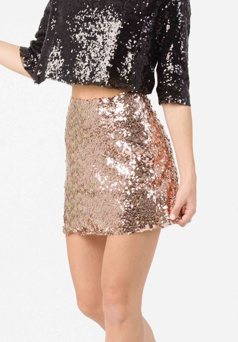 SEQUIN MINI SKIRT | ROSE