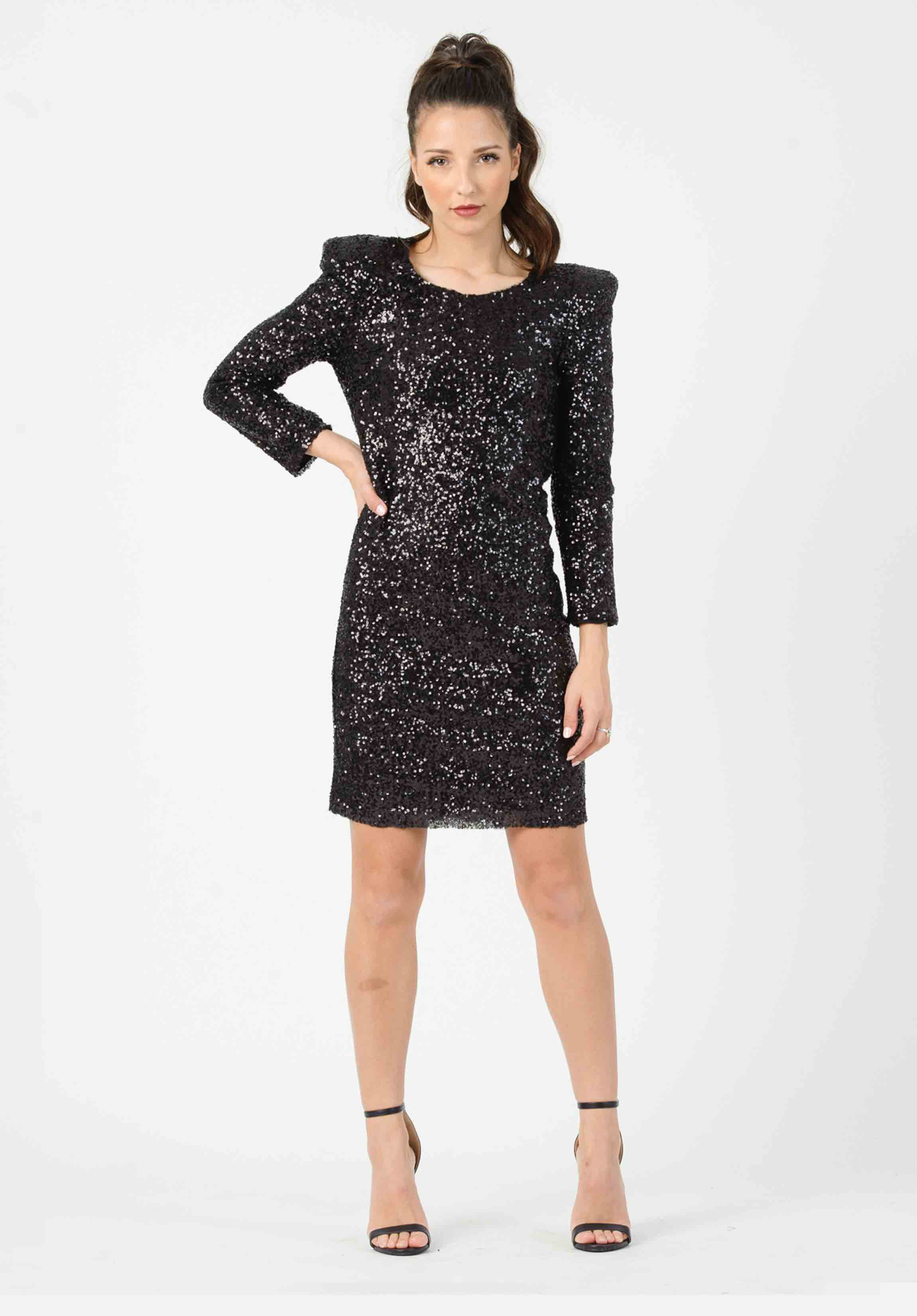 STRUCTURED SEQUIN DRESS