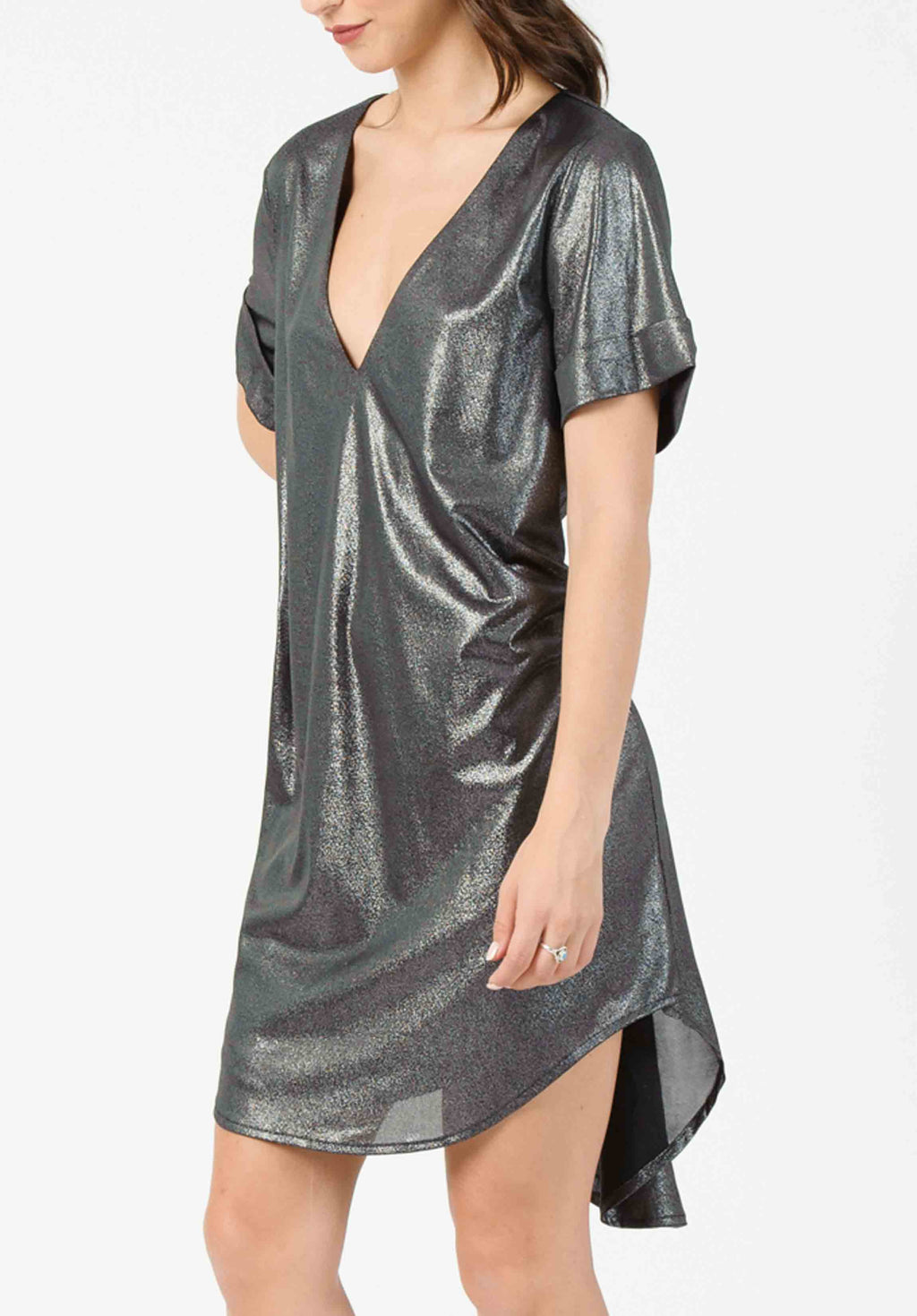 LIQUID JERSEY SHIRT DRESS |  GUNMETAL