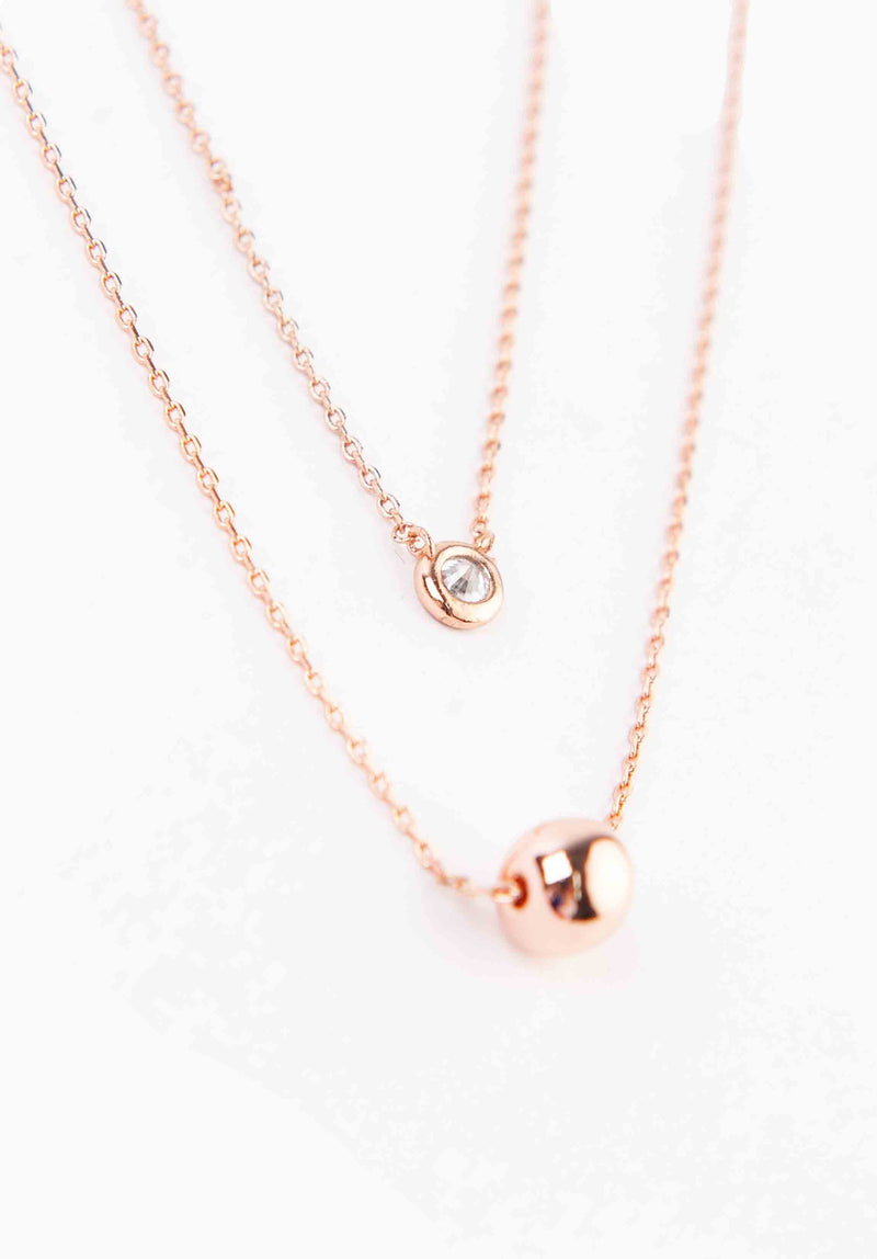 LAYERED SPHERE NECKLACE | ROSE GOLD