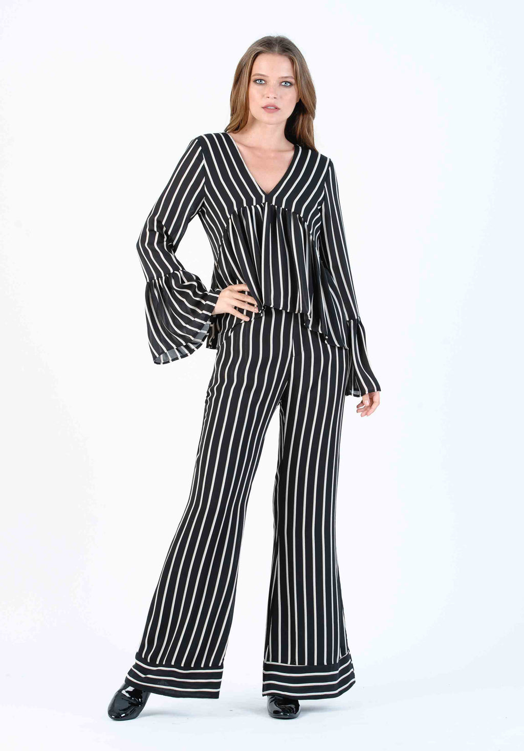 ISLA WIDE LEG PANT | BLACK TAN STRIPE