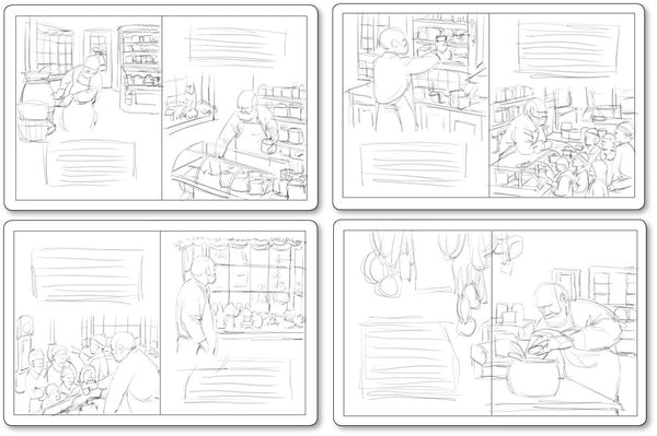 Rough sketches in facing page spreads