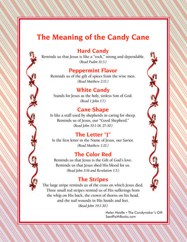 photograph relating to Story of the Candy Cane Printable identified as Legend of the Sweet Cane - The Candymakers Reward tagged