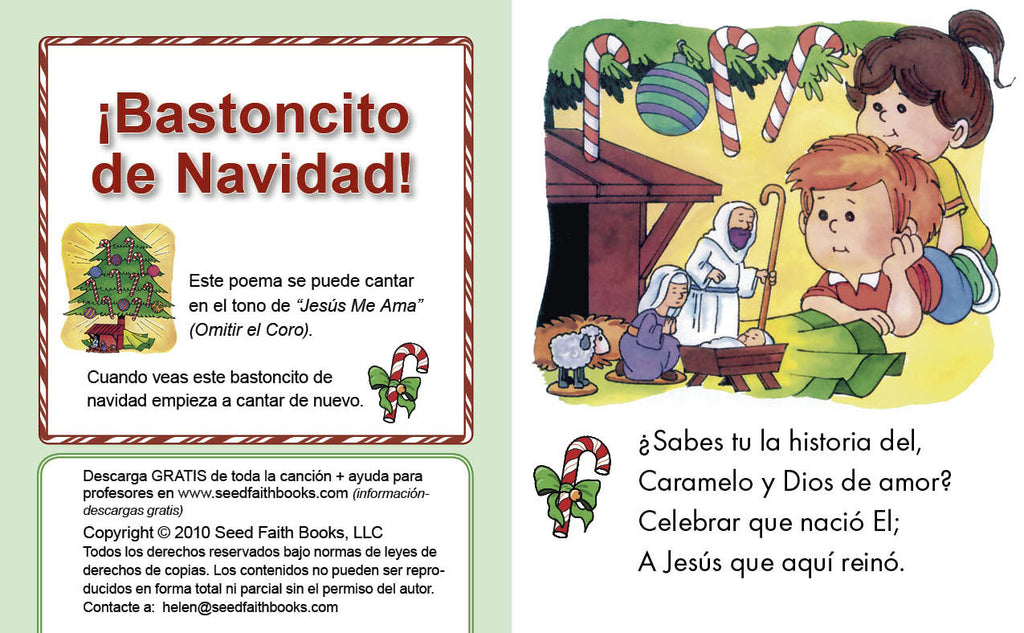 photo regarding Legend of the Candy Cane Printable identified as Sweet Cane Xmas - Spanish PDF Seed Religion Publications
