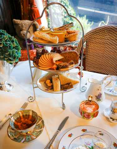 Afternoon tea with a three tiered tray