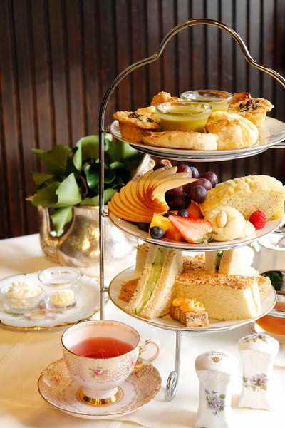 Afternoon tea with a three tiered tray.