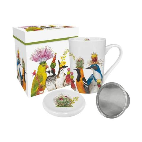 Birds with Hats Mug With Infuser & Lid