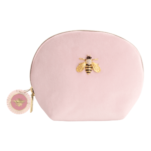 Pink Velvet Pouch/Bag With Bumble Bee Brooch