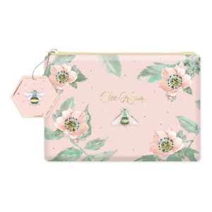 Bee Happy Pink Floral Faux Leather Cosmetic Bag