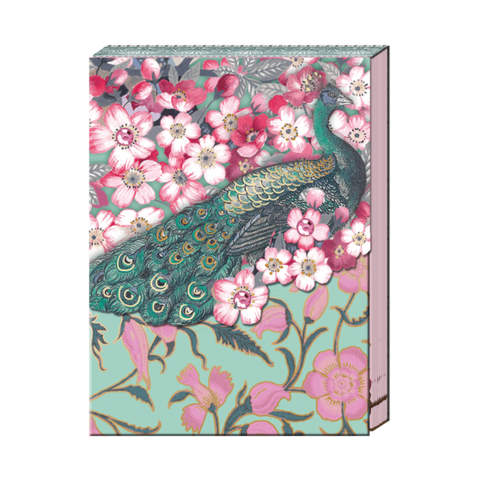 Cherry Blossom Peacock Pocket Notepad