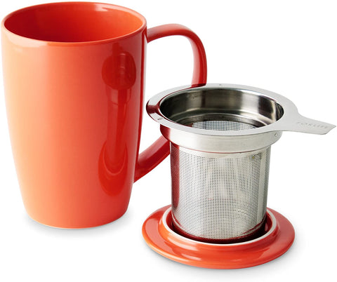 Curve Tall Tea Mug With  Infuser & Lid 15 oz Orange