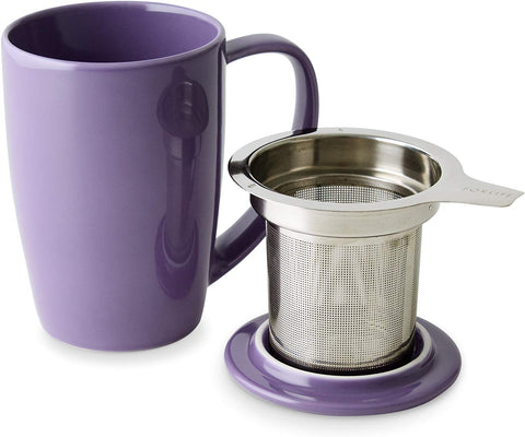 Curve Tall Tea Mug With Infuser & Lid 15 oz Purple