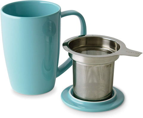 Curve Tall Tea Mug With Lid & Infuser 15 oz Turquoise