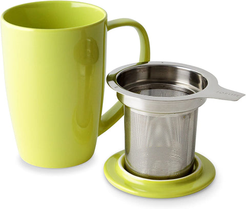 Curve Tall Tea Mug With Infuser & Lid 15 oz Lime