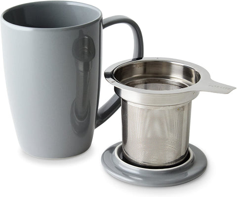 Curve Tall Tea Mug With Infuser & Lid 15 oz Grey