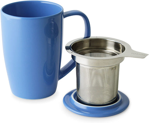 Curve Tall Tea Mug With Infuser & Lid 15 oz Blue