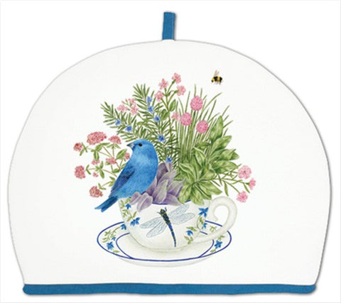 Blue Bunting on Teacup Tea Cozy