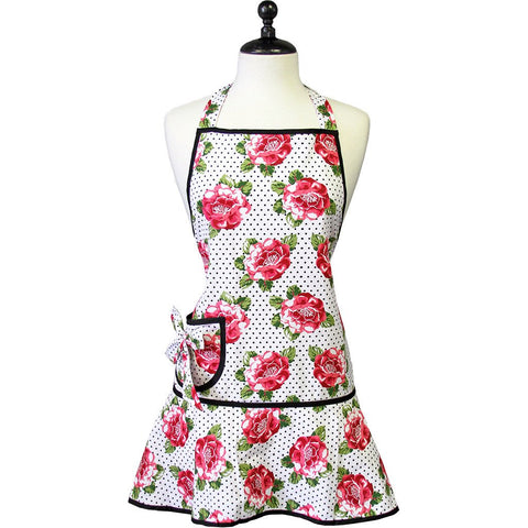 Jessie Steele Apron Cabbage Rose Pin Dot Carmen Apron